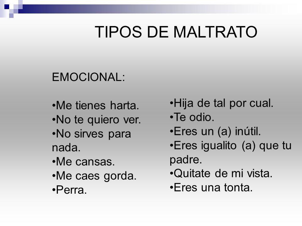 TIPOS DE MALTRATO EMOCIONAL: Me tienes harta.No te quiero ver.
