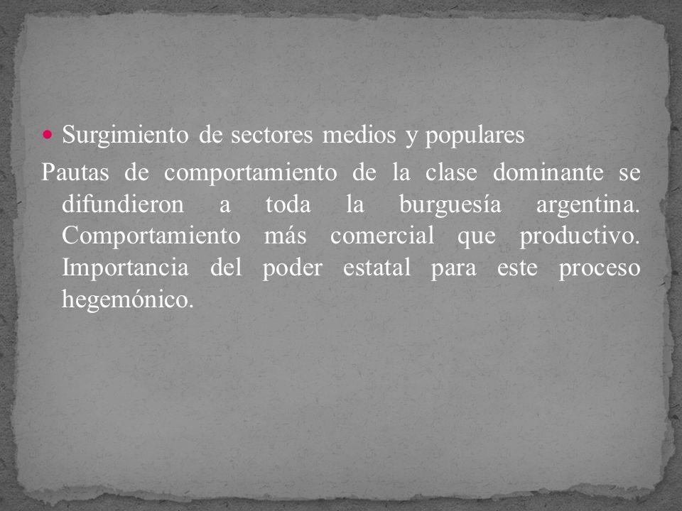 Surgimiento de sectores medios y populares Pautas de comportamiento de la clase dominante se difundieron a toda la burguesía argentina. Comportamiento