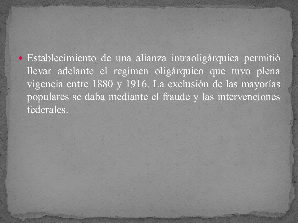 Establecimiento de una alianza intraoligárquica permitió llevar adelante el regimen oligárquico que tuvo plena vigencia entre 1880 y 1916. La exclusió