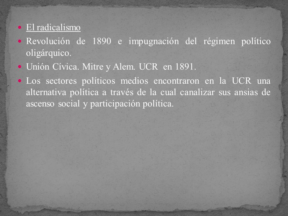 El radicalismo Revolución de 1890 e impugnación del régimen político oligárquico. Unión Cívica. Mitre y Alem. UCR en 1891. Los sectores políticos medi