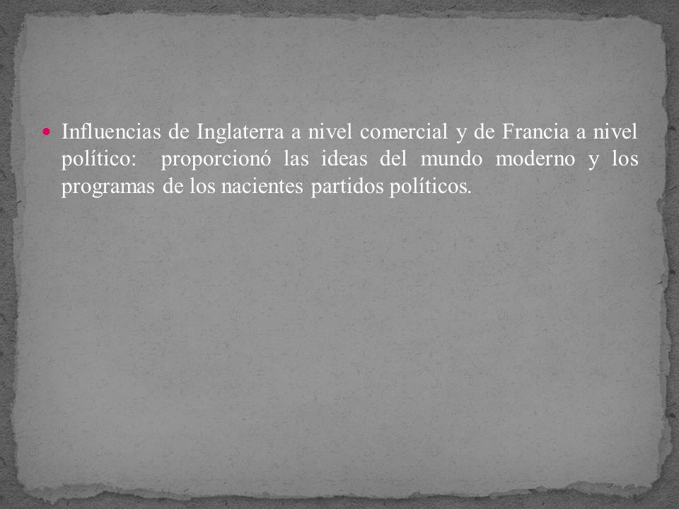 Influencias de Inglaterra a nivel comercial y de Francia a nivel político: proporcionó las ideas del mundo moderno y los programas de los nacientes pa