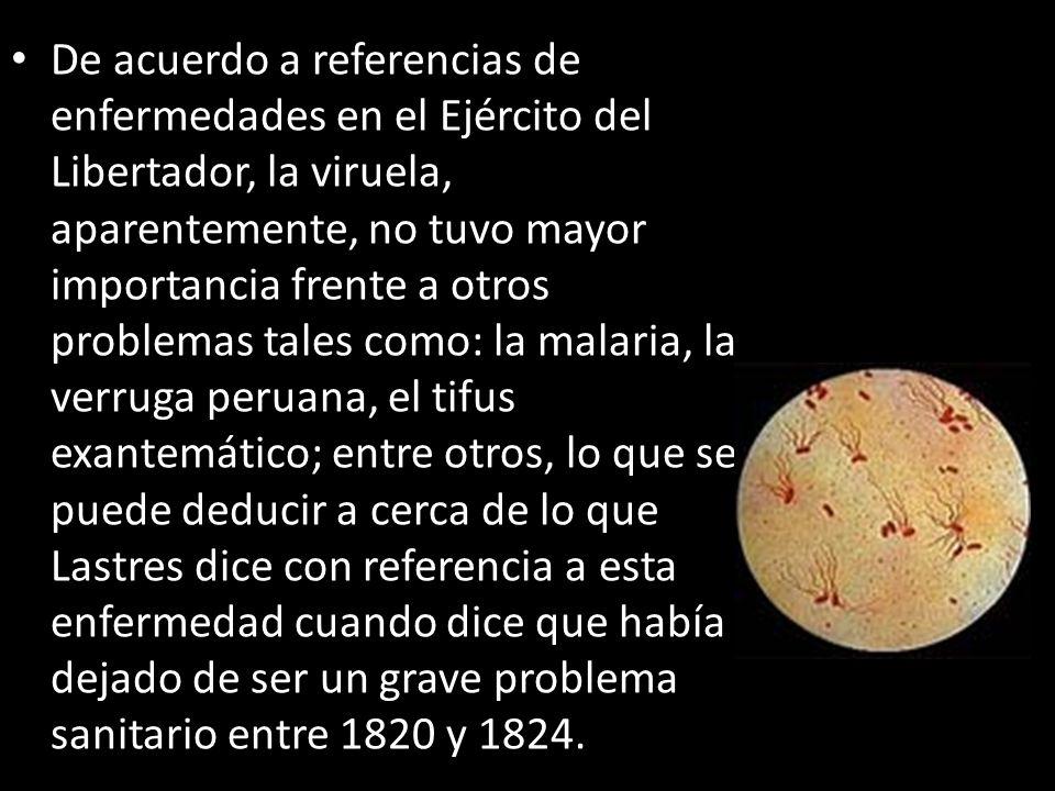 De acuerdo a referencias de enfermedades en el Ejército del Libertador, la viruela, aparentemente, no tuvo mayor importancia frente a otros problemas
