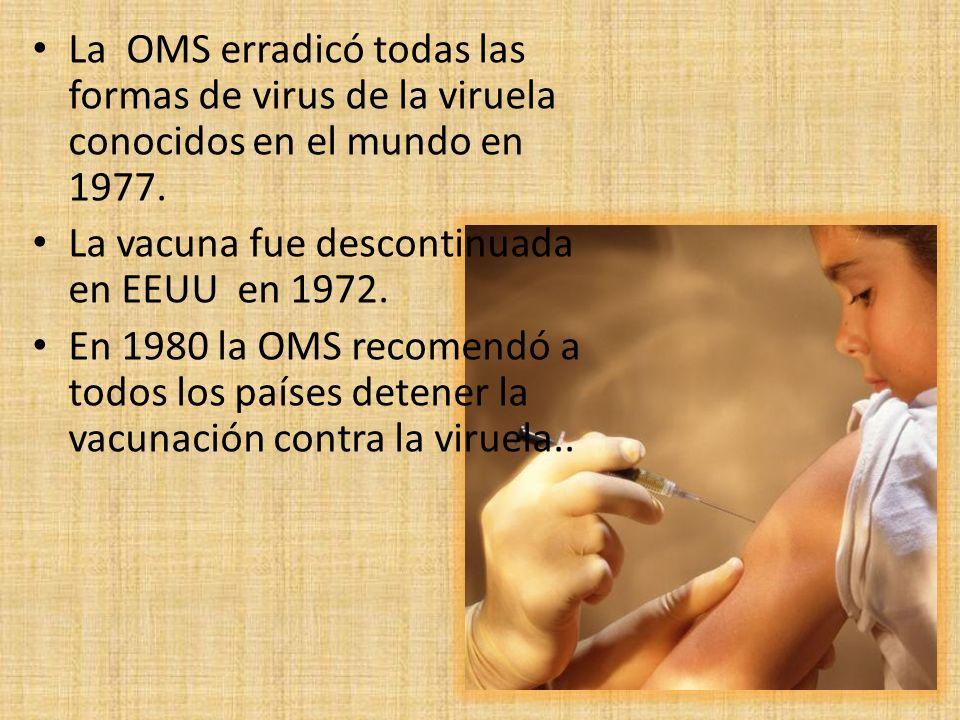 La OMS erradicó todas las formas de virus de la viruela conocidos en el mundo en 1977. La vacuna fue descontinuada en EEUU en 1972. En 1980 la OMS rec