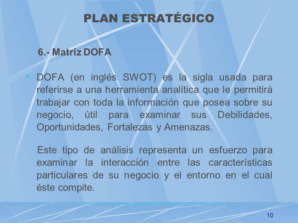 10 PLAN ESTRATÉGICO 6.- Matriz DOFA DOFA (en inglés SWOT) es la sigla usada para referirse a una herramienta analítica que le permitirá trabajar con t