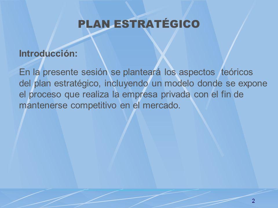 2 PLAN ESTRATÉGICO Introducción: En la presente sesión se planteará los aspectos teóricos del plan estratégico, incluyendo un modelo donde se expone e