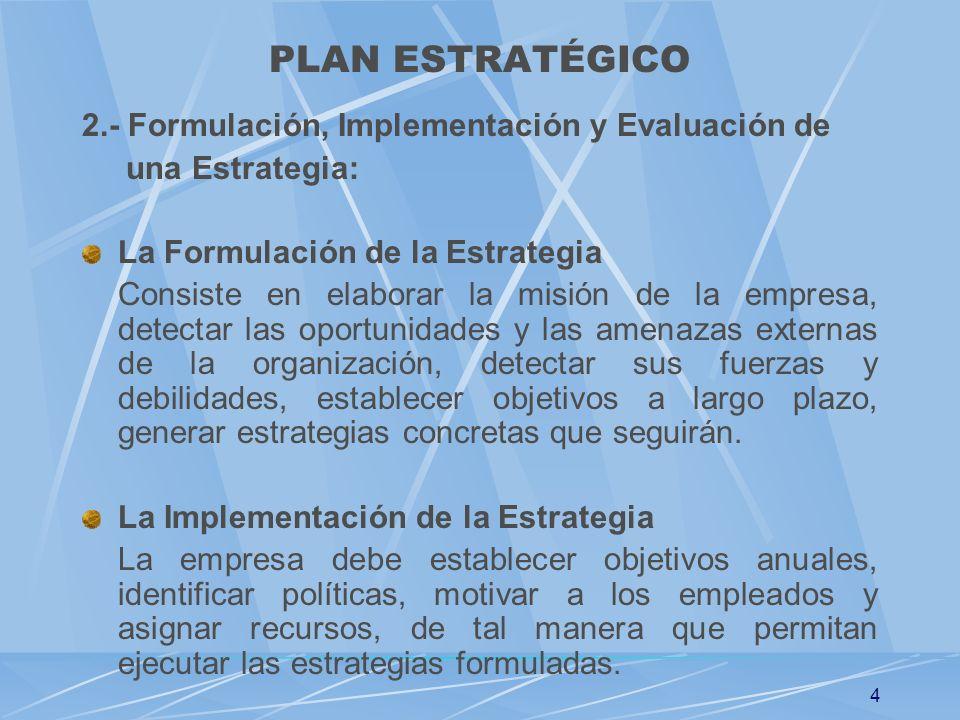4 2.- Formulación, Implementación y Evaluación de una Estrategia: La Formulación de la Estrategia Consiste en elaborar la misión de la empresa, detect