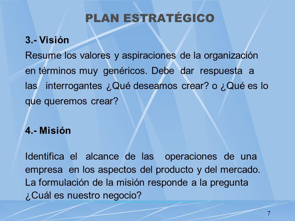 7 3.- Visión Resume los valores y aspiraciones de la organización en términos muy genéricos. Debe dar respuesta a las interrogantes ¿Qué deseamos crea