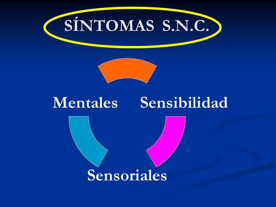 SÍNTOMAS S.N.C. Sensibilidad Sensoriales Mentales