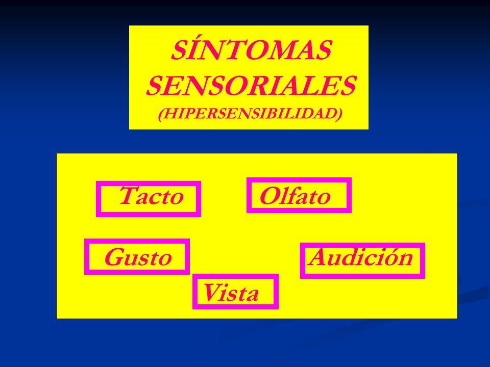 SÍNTOMAS SENSORIALES (HIPERSENSIBILIDAD) Tacto Olfato Gusto Audición Vista