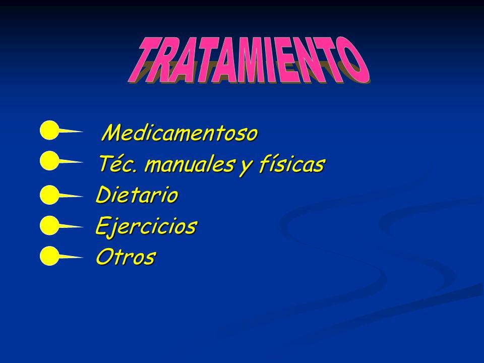 Medicamentoso Medicamentoso Téc. manuales y físicas Téc. manuales y físicas Dietario Dietario Ejercicios Ejercicios Otros Otros