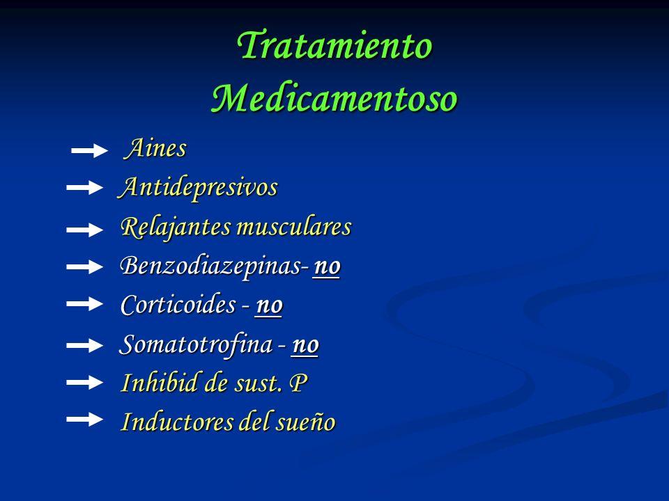 Tratamiento Medicamentoso Aines Aines Antidepresivos Antidepresivos Relajantes musculares Relajantes musculares Benzodiazepinas- no Benzodiazepinas- n