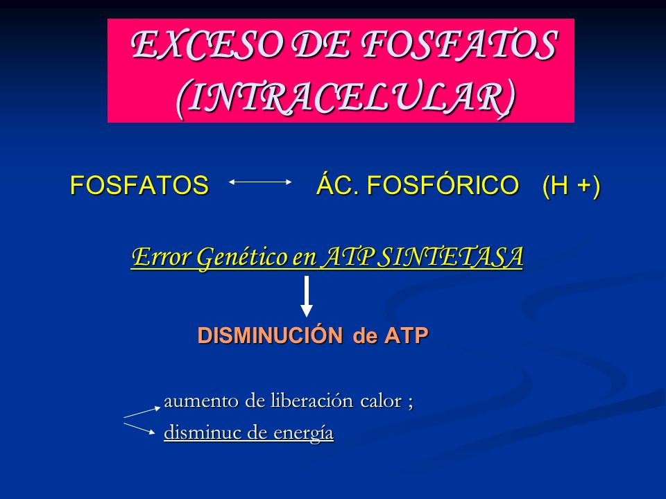 EXCESO DE FOSFATOS (INTRACELULAR) FOSFATOS ÁC. FOSFÓRICO (H +) FOSFATOS ÁC. FOSFÓRICO (H +) Error Genético en ATP SINTETASA Error Genético en ATP SINT