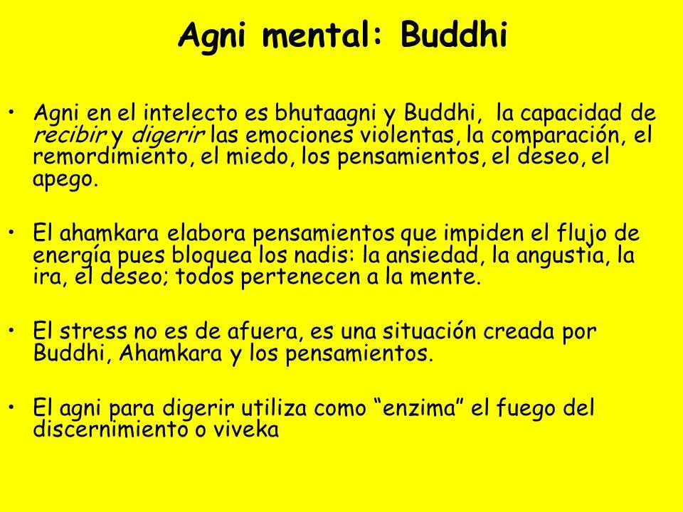 Agni mental: Buddhi Agni en el intelecto es bhutaagni y Buddhi, la capacidad de recibir y digerir las emociones violentas, la comparación, el remordim