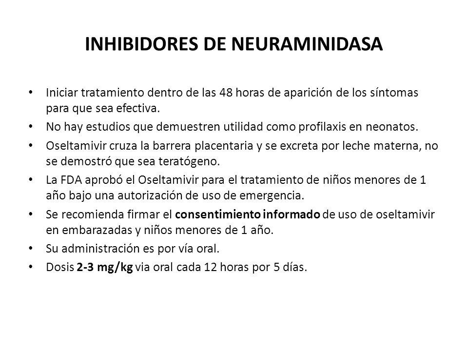 INHIBIDORES DE NEURAMINIDASA Iniciar tratamiento dentro de las 48 horas de aparición de los síntomas para que sea efectiva. No hay estudios que demues