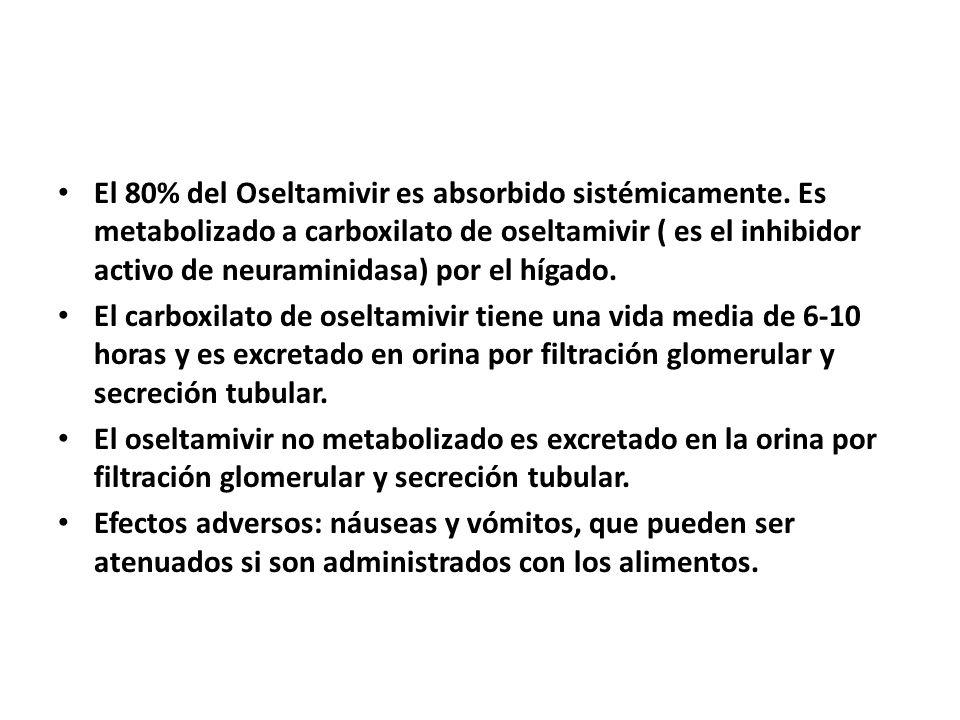 El 80% del Oseltamivir es absorbido sistémicamente. Es metabolizado a carboxilato de oseltamivir ( es el inhibidor activo de neuraminidasa) por el híg
