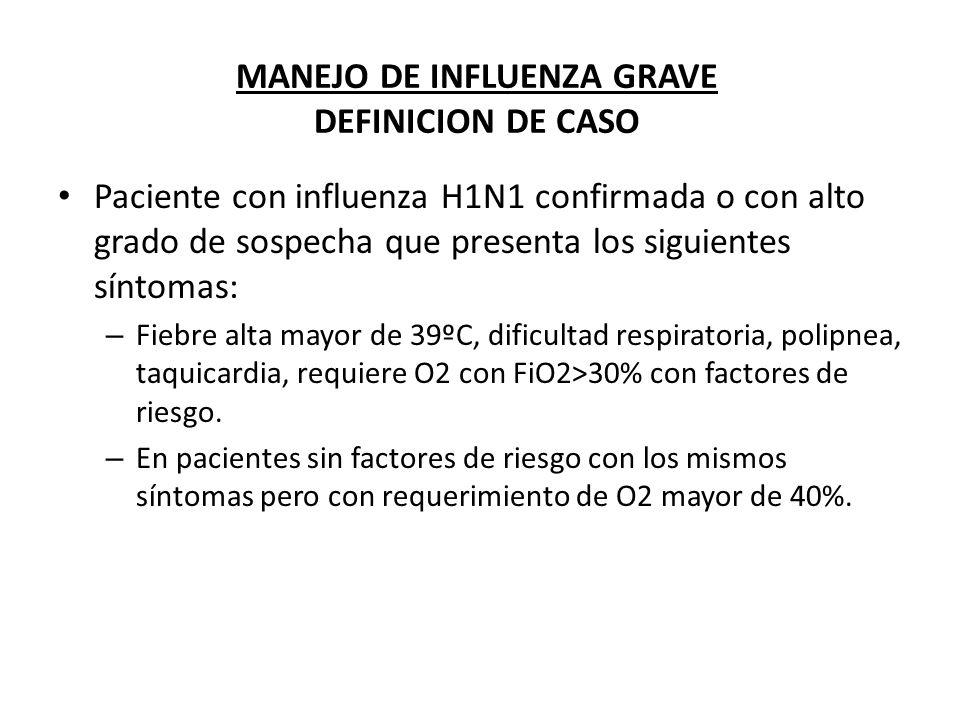 MANEJO DE INFLUENZA GRAVE DEFINICION DE CASO Paciente con influenza H1N1 confirmada o con alto grado de sospecha que presenta los siguientes síntomas: