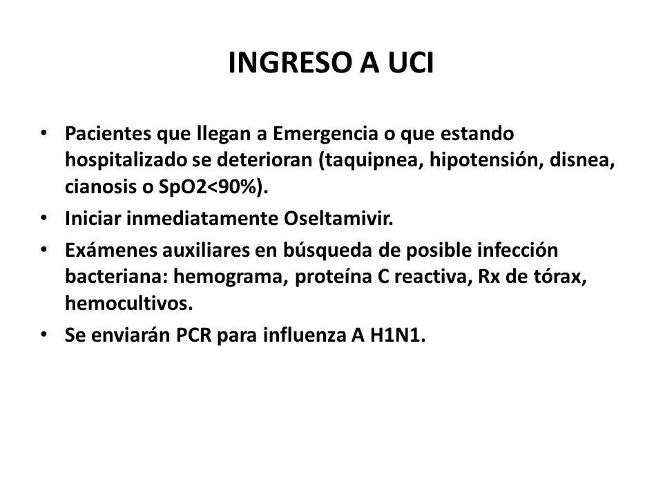 INGRESO A UCI Pacientes que llegan a Emergencia o que estando hospitalizado se deterioran (taquipnea, hipotensión, disnea, cianosis o SpO2<90%). Inici