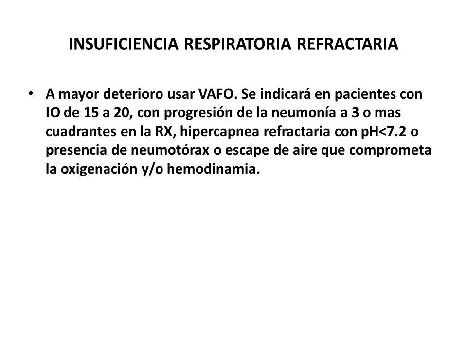 INSUFICIENCIA RESPIRATORIA REFRACTARIA A mayor deterioro usar VAFO. Se indicará en pacientes con IO de 15 a 20, con progresión de la neumonía a 3 o ma