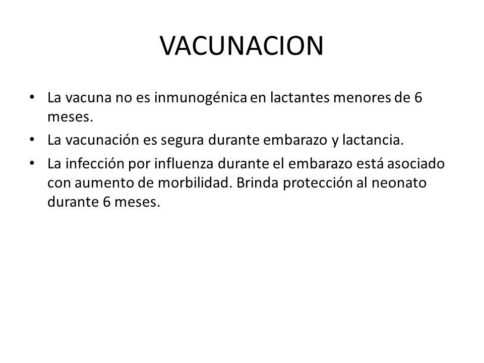 VACUNACION La vacuna no es inmunogénica en lactantes menores de 6 meses. La vacunación es segura durante embarazo y lactancia. La infección por influe