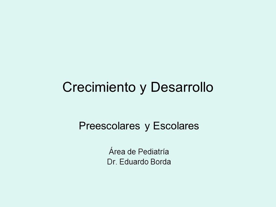 Crecimiento y Desarrollo Preescolares y Escolares Área de Pediatría Dr. Eduardo Borda