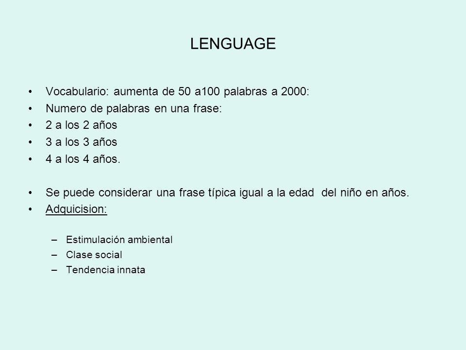 LENGUAGE Vocabulario: aumenta de 50 a100 palabras a 2000: Numero de palabras en una frase: 2 a los 2 años 3 a los 3 años 4 a los 4 años. Se puede cons