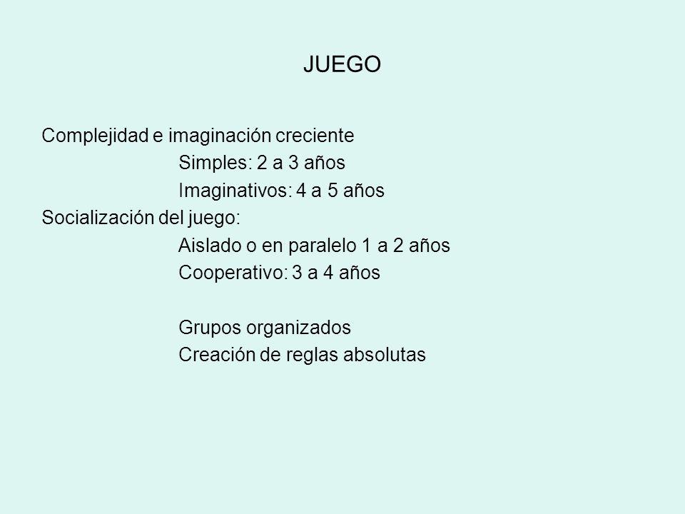 JUEGO Complejidad e imaginación creciente Simples: 2 a 3 años Imaginativos: 4 a 5 años Socialización del juego: Aislado o en paralelo 1 a 2 años Coope