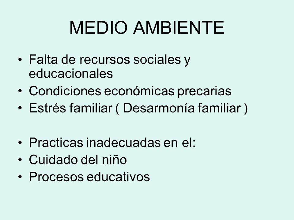 MEDIO AMBIENTE Falta de recursos sociales y educacionales Condiciones económicas precarias Estrés familiar ( Desarmonía familiar ) Practicas inadecuad
