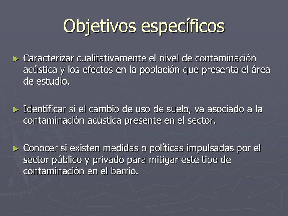 Objetivos específicos Caracterizar cualitativamente el nivel de contaminación acústica y los efectos en la población que presenta el área de estudio.
