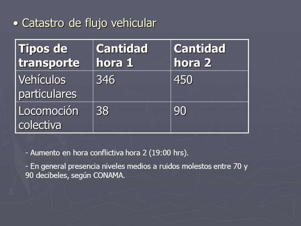 Tipos de transporte Cantidad hora 1 Cantidad hora 2 Vehículos particulares 346450 Locomoción colectiva 3890 Catastro de flujo vehicular Catastro de fl