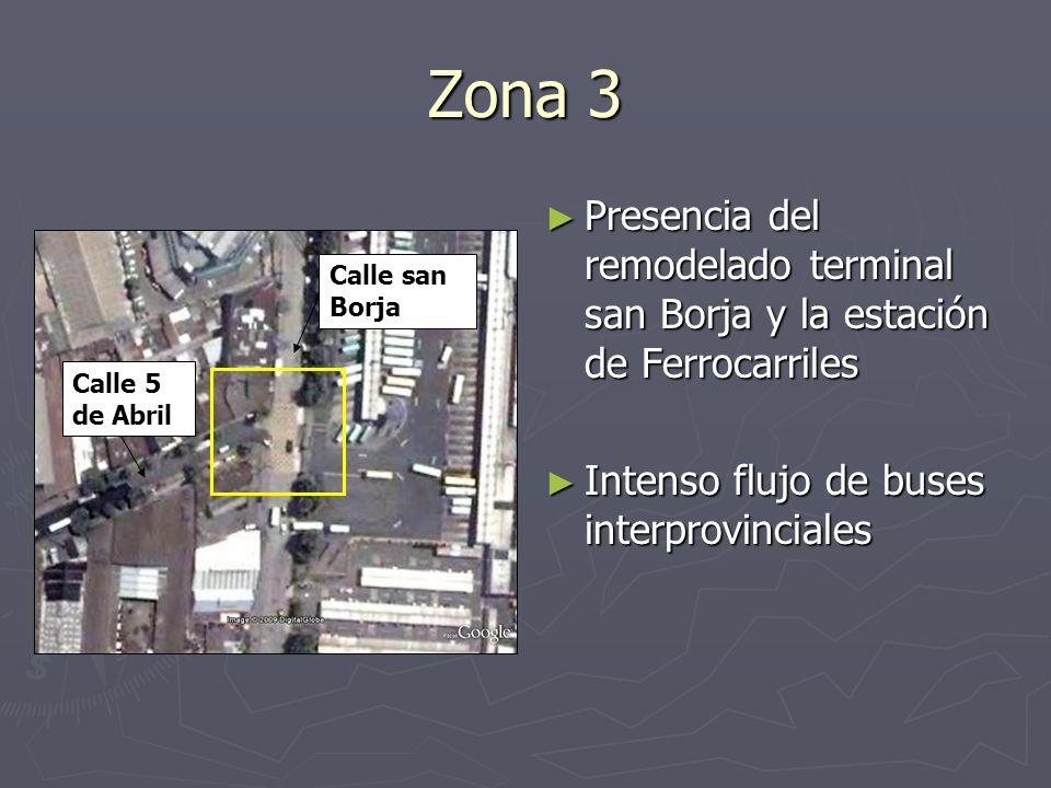 Zona 3 Presencia del remodelado terminal san Borja y la estación de Ferrocarriles Intenso flujo de buses interprovinciales Calle san Borja Calle 5 de