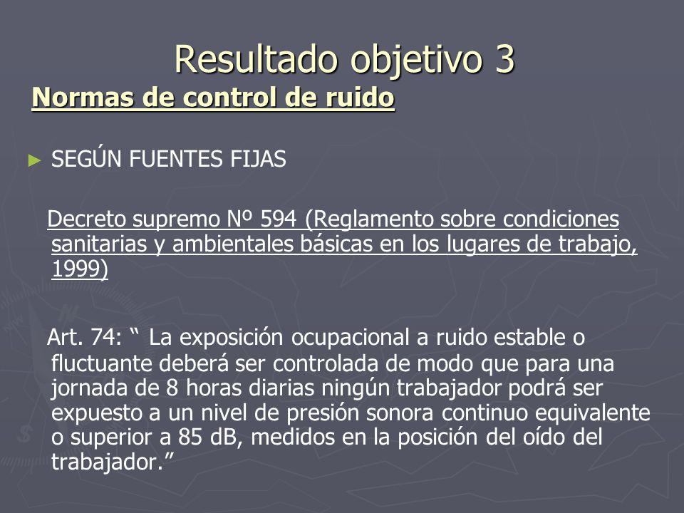Resultado objetivo 3 Normas de control de ruido Resultado objetivo 3 Normas de control de ruido SEGÚN FUENTES FIJAS Decreto supremo Nº 594 (Reglamento