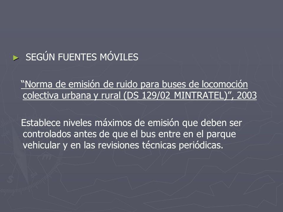 SEGÚN FUENTES MÓVILES Norma de emisión de ruido para buses de locomoción colectiva urbana y rural (DS 129/02 MINTRATEL), 2003 Establece niveles máximo
