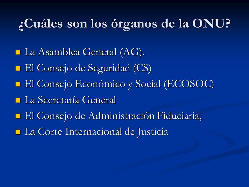 ¿Cuáles son los órganos de la ONU? La Asamblea General (AG). La Asamblea General (AG). El Consejo de Seguridad (CS) El Consejo de Seguridad (CS) El Co