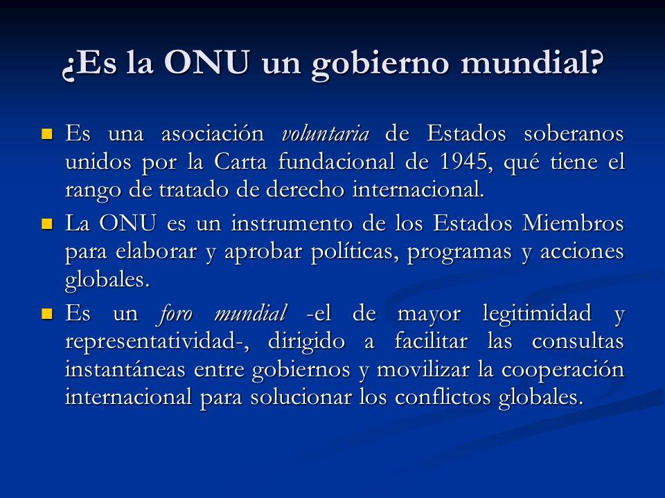 ¿Es la ONU un gobierno mundial? Es una asociación voluntaria de Estados soberanos unidos por la Carta fundacional de 1945, qué tiene el rango de trata