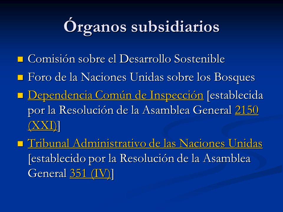 Órganos subsidiarios Comisión sobre el Desarrollo Sostenible Comisión sobre el Desarrollo Sostenible Foro de la Naciones Unidas sobre los Bosques Foro