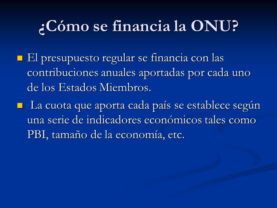 ¿Cómo se financia la ONU? El presupuesto regular se financia con las contribuciones anuales aportadas por cada uno de los Estados Miembros. El presupu