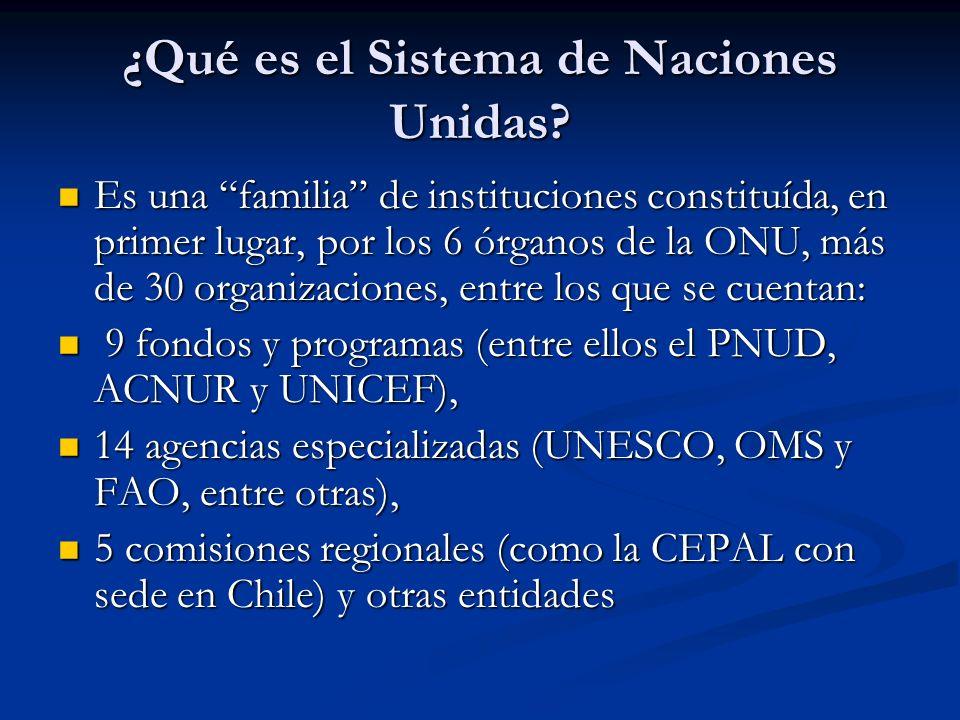 ¿Qué es el Sistema de Naciones Unidas? Es una familia de instituciones constituída, en primer lugar, por los 6 órganos de la ONU, más de 30 organizaci