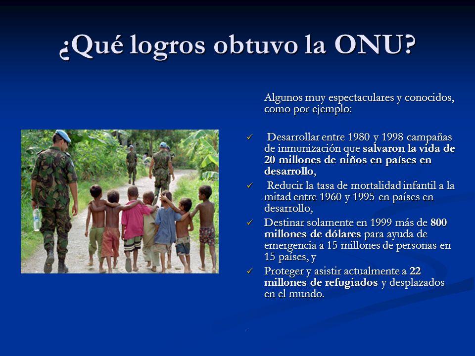 ¿Qué logros obtuvo la ONU? Algunos muy espectaculares y conocidos, como por ejemplo: Desarrollar entre 1980 y 1998 campañas de inmunización que salvar