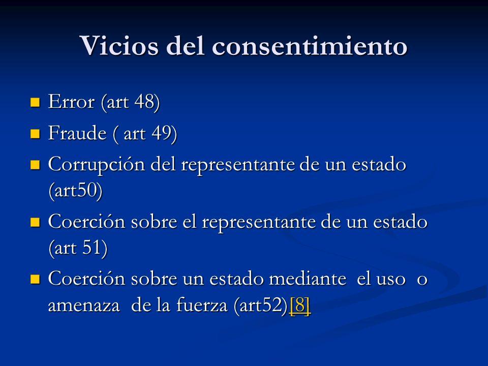 Vicios del consentimiento Error (art 48) Error (art 48) Fraude ( art 49) Fraude ( art 49) Corrupción del representante de un estado (art50) Corrupción