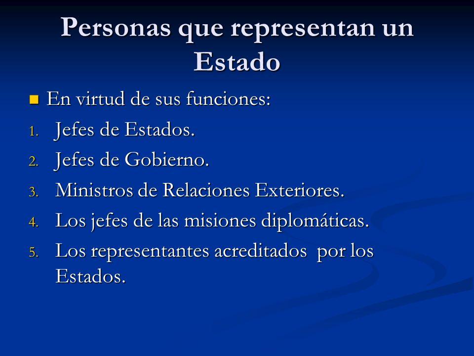 Personas que representan un Estado En virtud de sus funciones: En virtud de sus funciones: 1. Jefes de Estados. 2. Jefes de Gobierno. 3. Ministros de