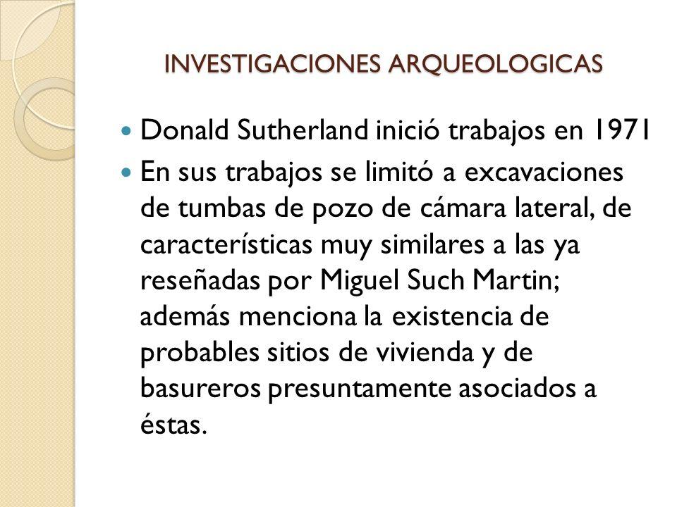 INVESTIGACIONES ARQUEOLOGICAS Donald Sutherland inició trabajos en 1971 En sus trabajos se limitó a excavaciones de tumbas de pozo de cámara lateral,