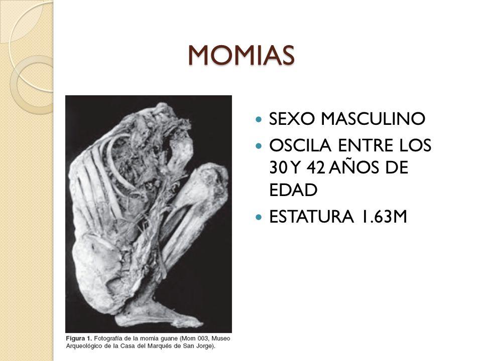 MOMIAS SEXO MASCULINO OSCILA ENTRE LOS 30 Y 42 AÑOS DE EDAD ESTATURA 1.63M