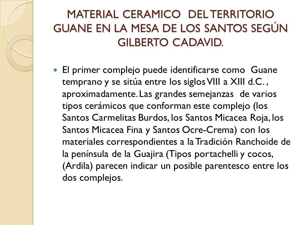 MATERIAL CERAMICO DEL TERRITORIO GUANE EN LA MESA DE LOS SANTOS SEGÚN GILBERTO CADAVID. MATERIAL CERAMICO DEL TERRITORIO GUANE EN LA MESA DE LOS SANTO
