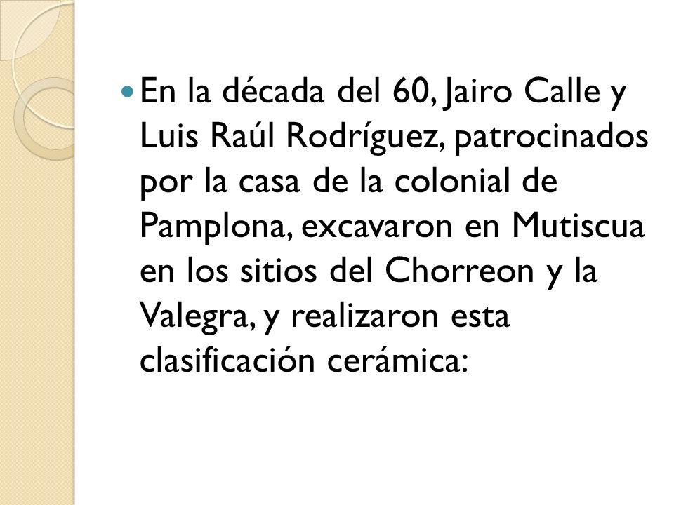 En la década del 60, Jairo Calle y Luis Raúl Rodríguez, patrocinados por la casa de la colonial de Pamplona, excavaron en Mutiscua en los sitios del C
