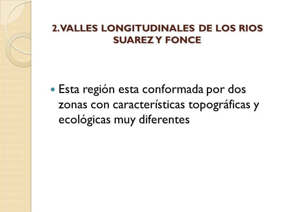 2. VALLES LONGITUDINALES DE LOS RIOS SUAREZ Y FONCE Esta región esta conformada por dos zonas con características topográficas y ecológicas muy difere