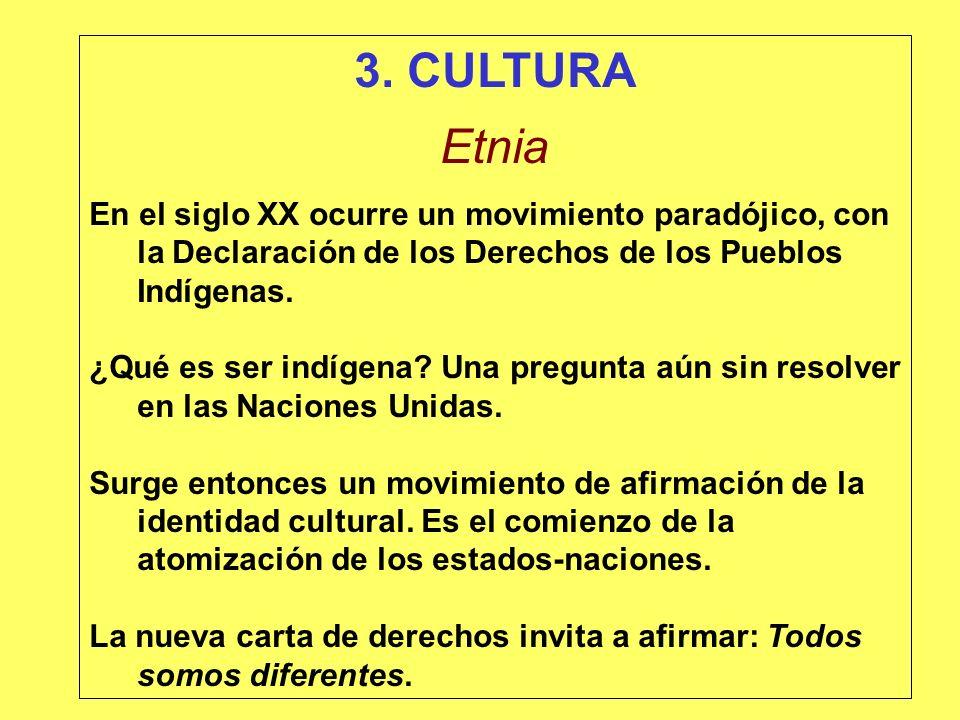 3. CULTURA Etnia En el siglo XX ocurre un movimiento paradójico, con la Declaración de los Derechos de los Pueblos Indígenas. ¿Qué es ser indígena? Un