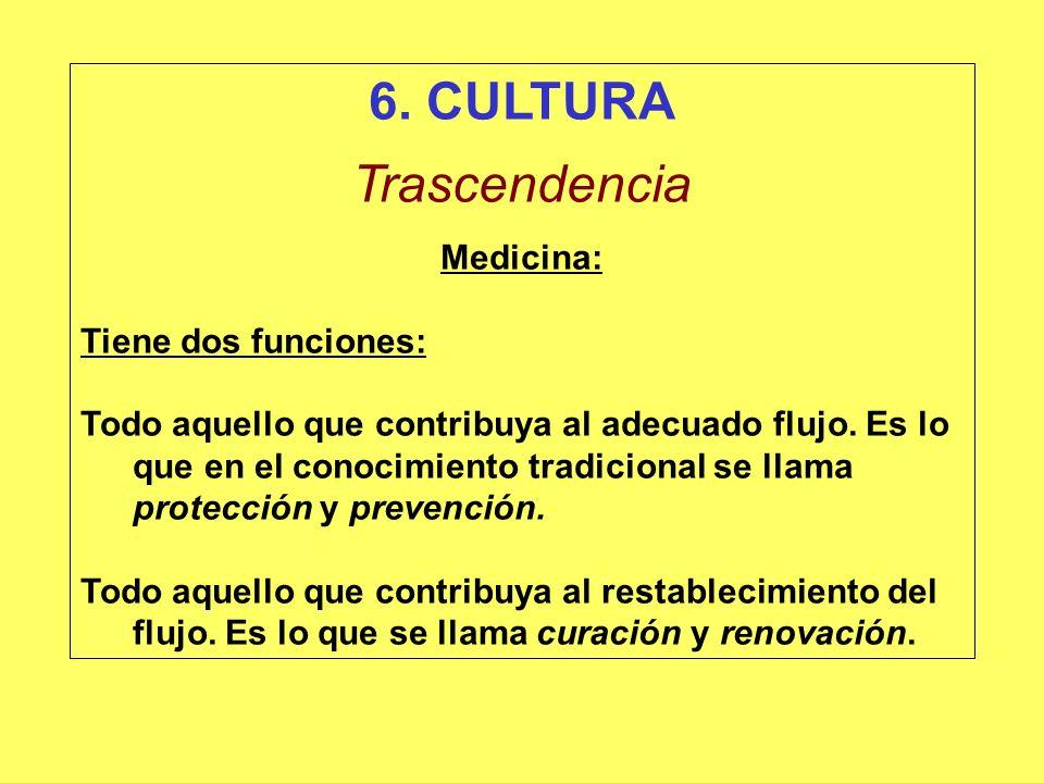 6. CULTURA Trascendencia Medicina: Tiene dos funciones: Todo aquello que contribuya al adecuado flujo. Es lo que en el conocimiento tradicional se lla