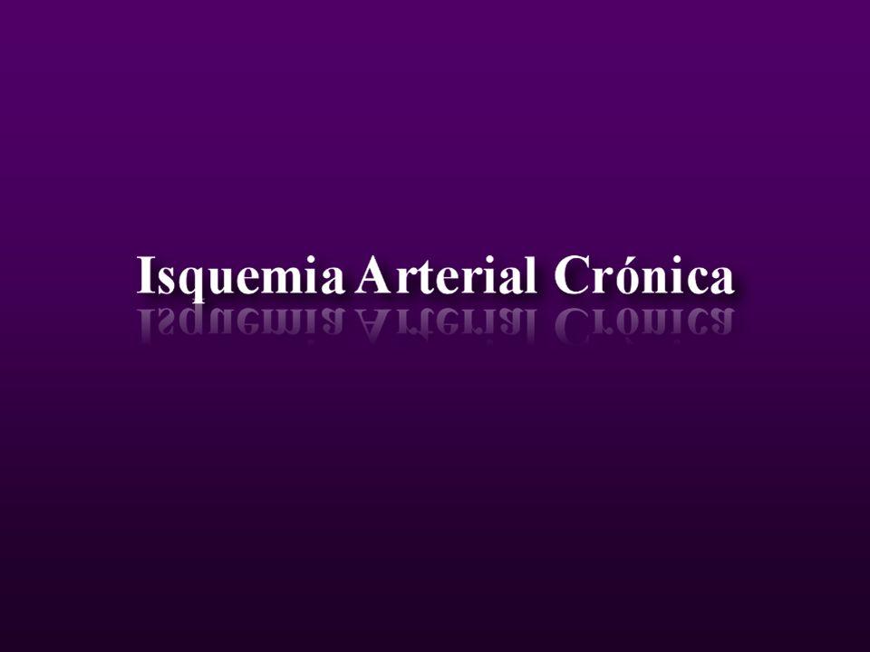 Isquemia Arterial Crónica Clasificación de Fontaine Estadio I Asintomático Claudicación intermitente Estadio II II a > 150 mts.