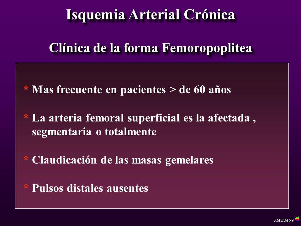 Isquemia Arterial Crónica Clínica de la forma Femoropoplitea * Mas frecuente en pacientes > de 60 años * La arteria femoral superficial es la afectada