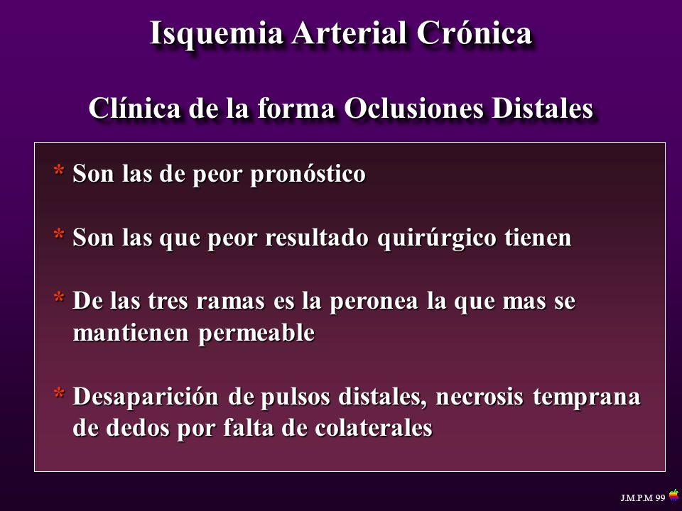 Isquemia Arterial Crónica Clínica de la forma Oclusiones Distales * Son las de peor pronóstico * Son las que peor resultado quirúrgico tienen * De las
